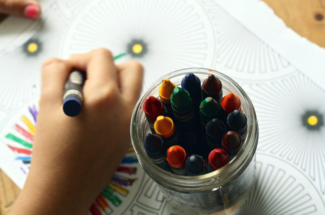 Crayons and colouring book