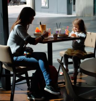 Mother and child dining