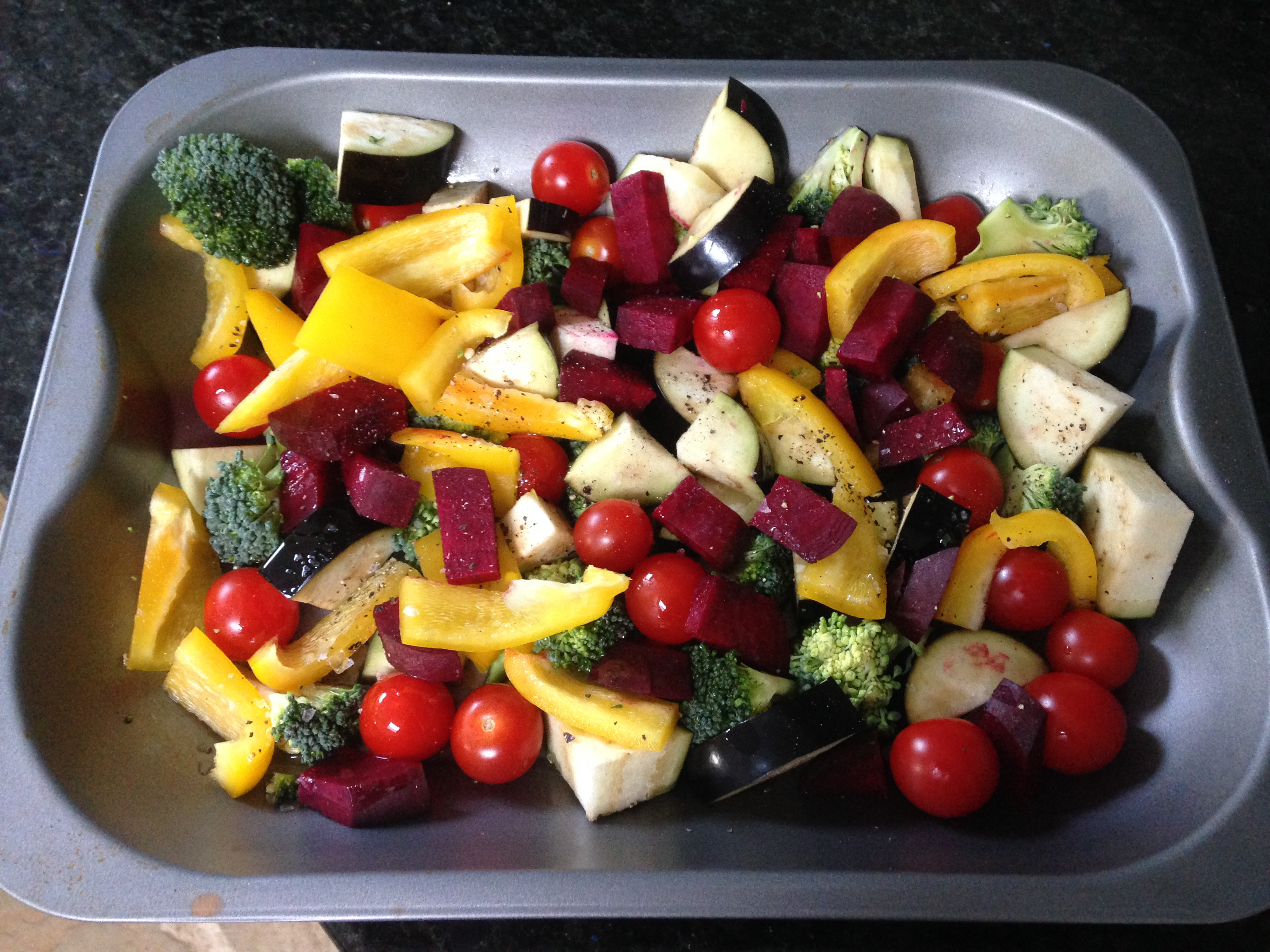 Tray of roast vegetables